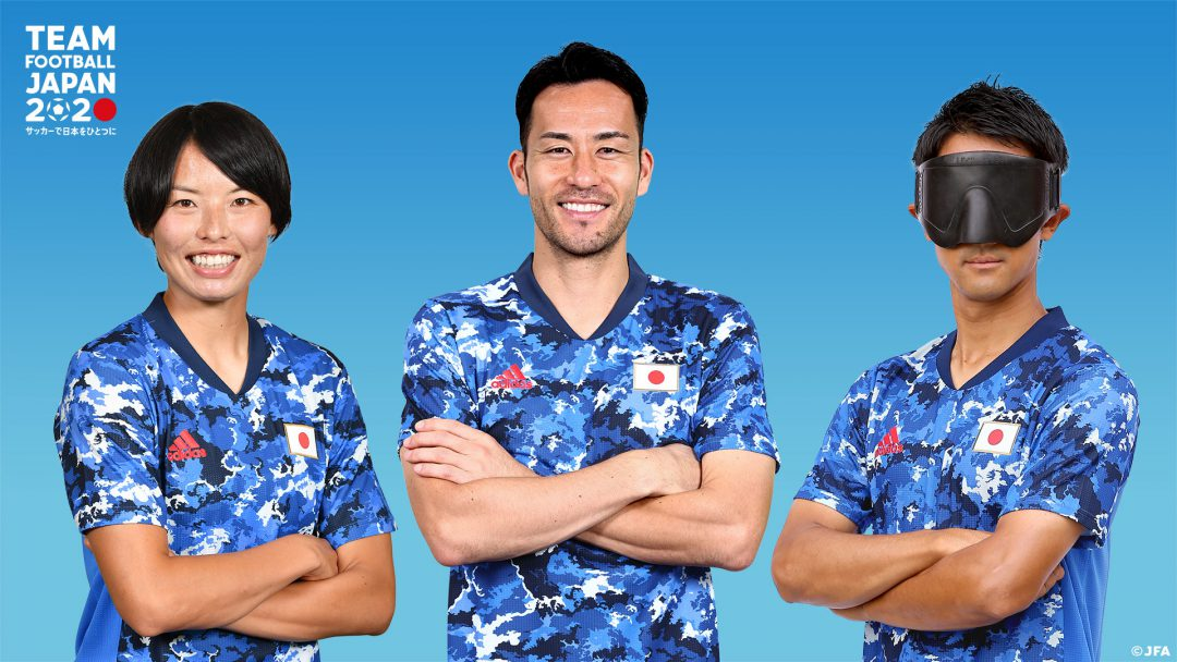 同一ユニフォームを着用するサッカー女子・熊谷紗希選手、サッカー男子・吉田麻也選手、ブラインドサッカー男子・川村怜選手